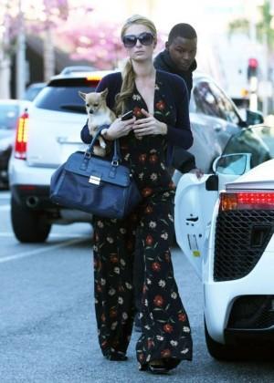 Paris Hilton in Floral Jumpsuit out Beverly Hills
