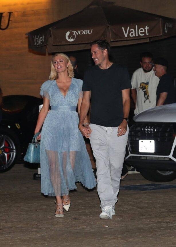 Paris Hilton - Out in a baby blue dress in Malibu