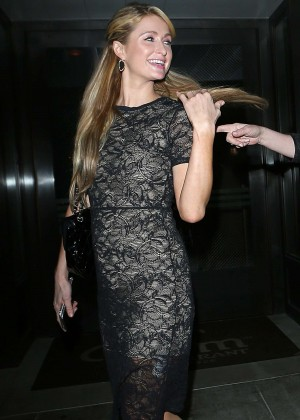 Paris Hilton in Mini Dress at Palm Restaurant in LA