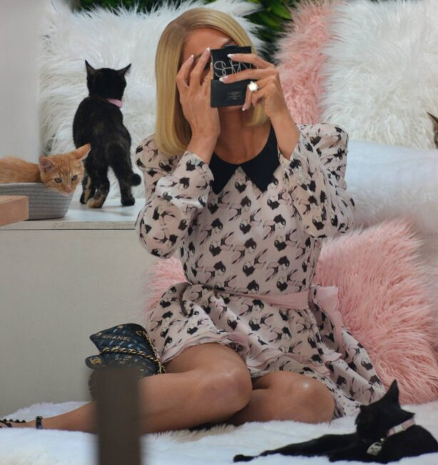 Paris Hilton - Photo shoot at Crumbs and Whiskers along Melrose Avenue in West Hollywood