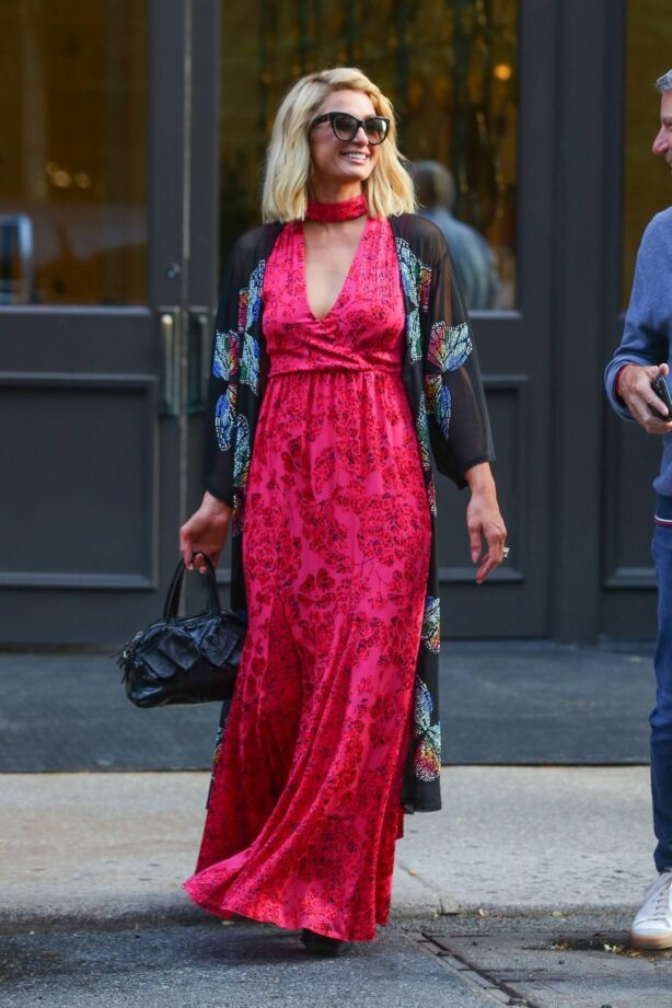 Paris Hilton - Seen in an red floral dress in New York City