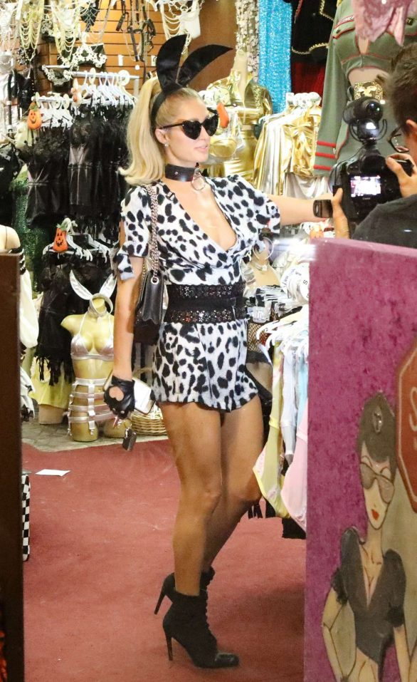Paris Hilton - Shopping at the 'Trashy Lingerie' Store for Halloween costumes in LA