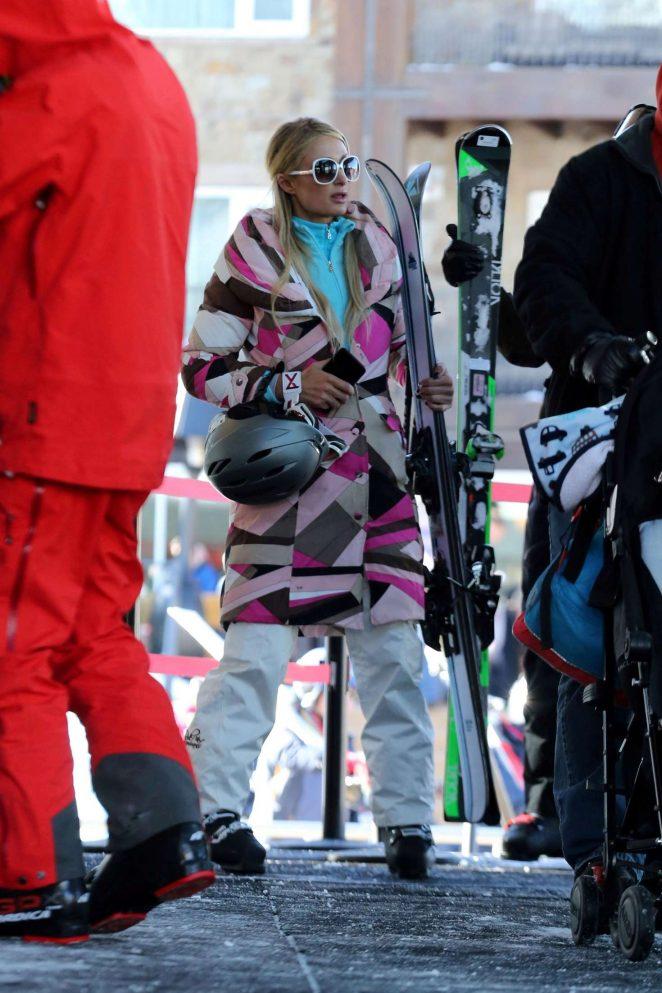 Paris Hilton Skiing in Aspen -17