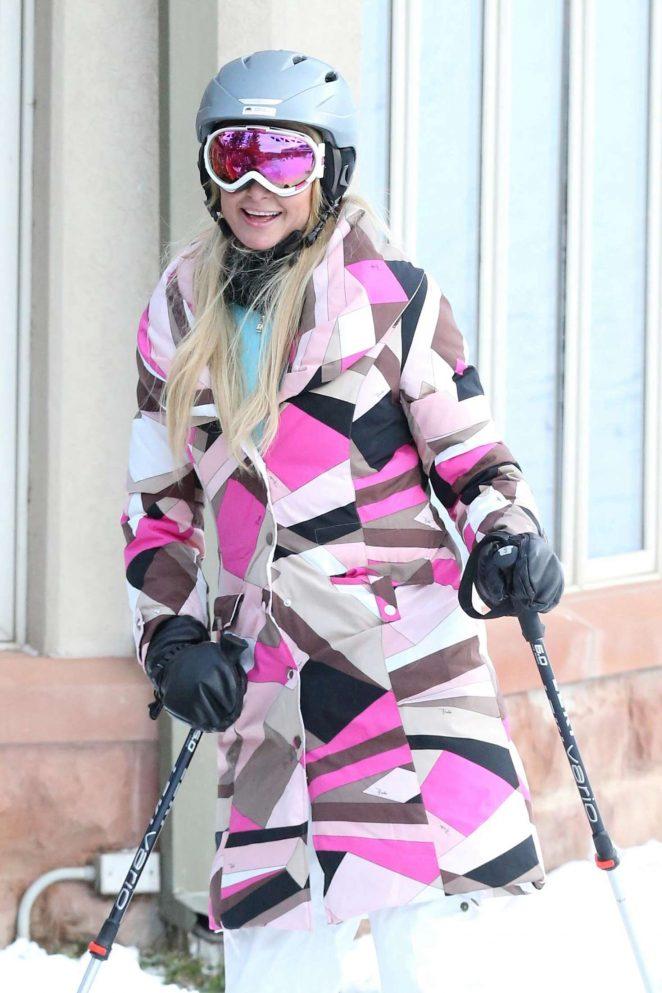Paris Hilton Skiing in Aspen -20