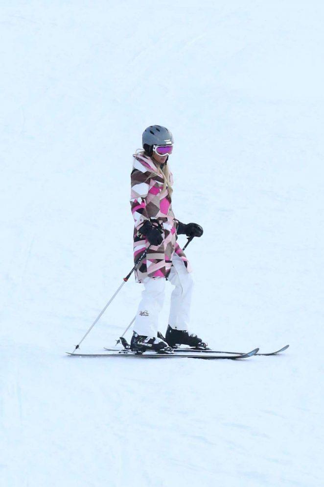 Paris Hilton Skiing in Aspen -24