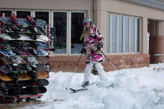 Paris Hilton Skiing in Aspen -27