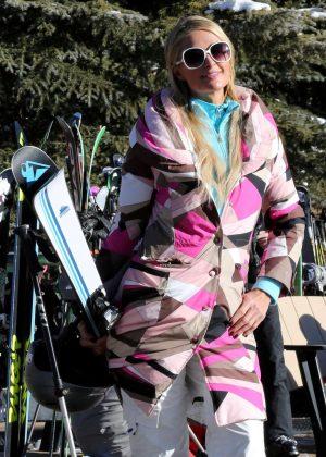 Paris Hilton Skiing in Aspen