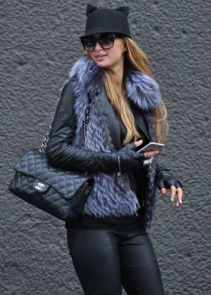 Paris Hilton in Leather out in Milan