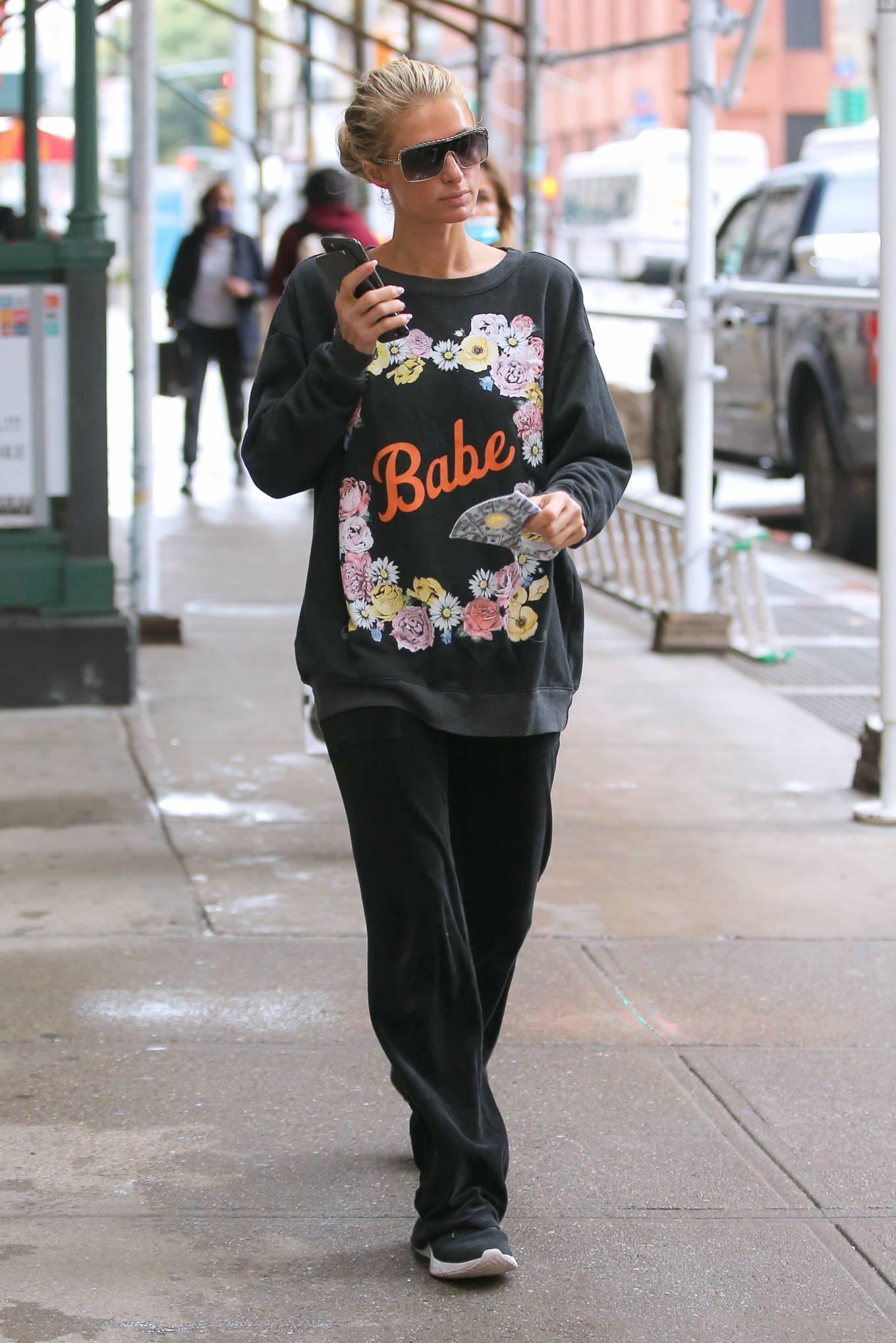 Paris Hilton - Wearing a sweater in New York