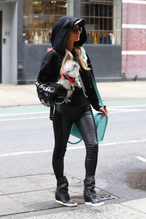Paris Hilton - Wearing PU leather black pants in New York