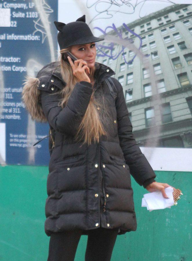 Paris Hilton - Wears a cat-ears hat in Manhattan