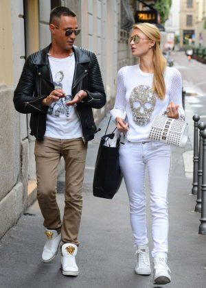 Paris Hilton with her boyfriend Pietro Tavallini in Milan