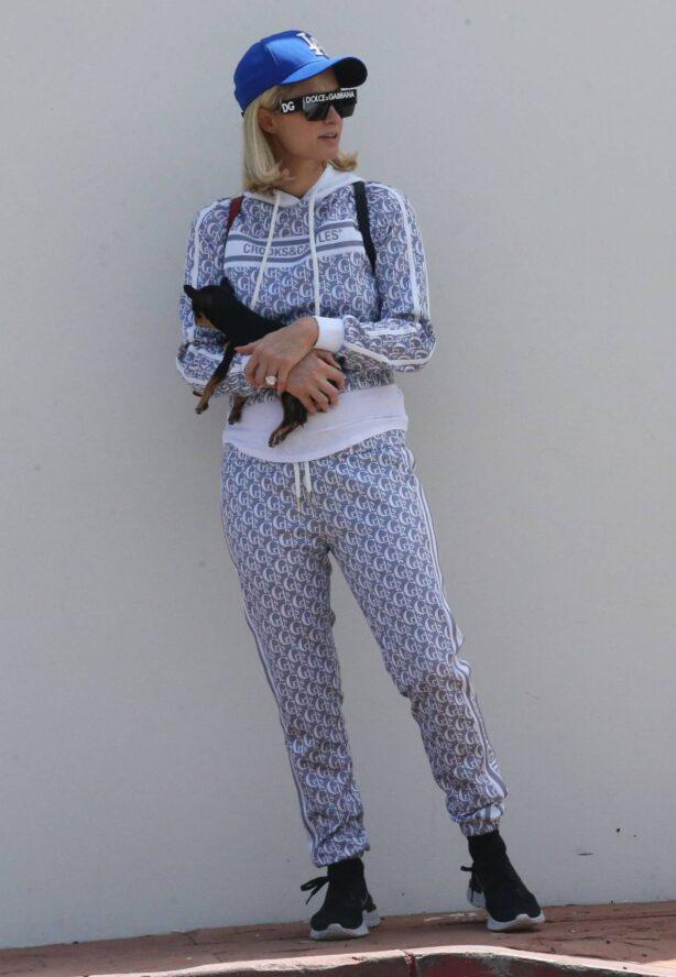 Paris Hilton - With her dog in Malibu