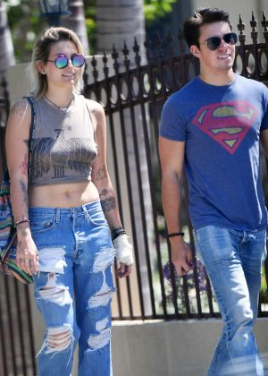 Paris Jackson and her boyfriend at Fratelli Cafe in West Hollywood