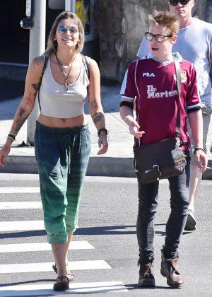 Paris Jackson and Macaulay Culkin at Tattoo Mania in Hollywood