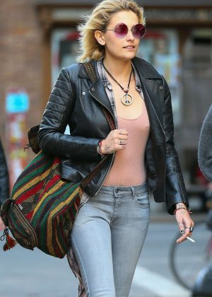Paris Jackson in Leather Jacket and Jeans out in New York