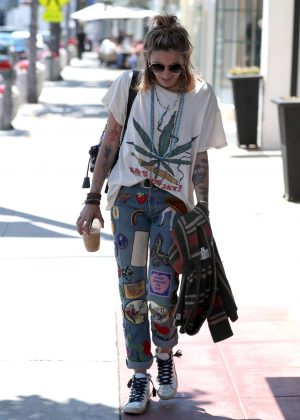 Paris Jackson in Print Jeans out in Los Angeles