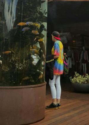 Paris Jackson - Wearing a colorful rainbow shirt in Malibu