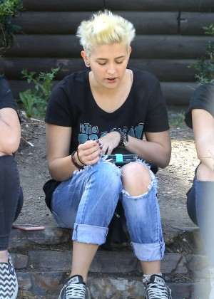 Paris Jackson with friends out in Beverly Hills