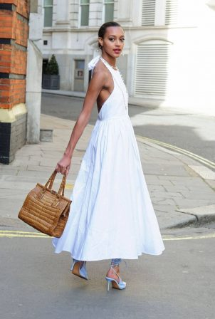 Paris Smith - In white maxi dress in London