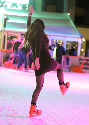 Pascal Craymer in Mini Dress on Ice skating -05