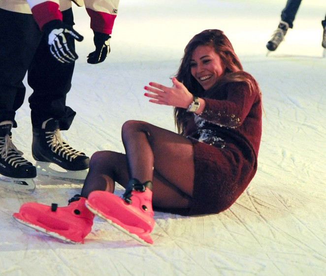 Pascal Craymer in Mini Dress on Ice skating in Southend