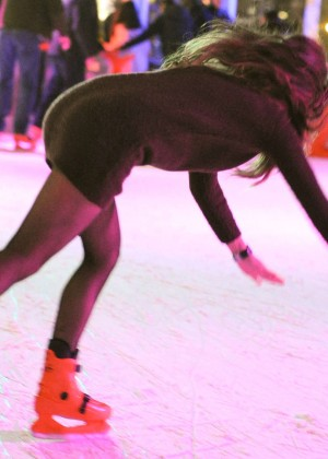 Pascal Craymer in Mini Dress on Ice skating -09