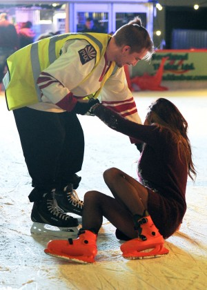 Pascal Craymer in Mini Dress on Ice skating -11