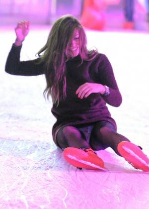 Pascal Craymer in Mini Dress on Ice skating -12