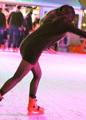 Pascal Craymer in Mini Dress on Ice skating -13