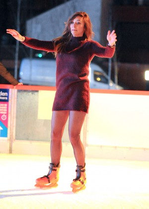 Pascal Craymer in Mini Dress on Ice skating -16