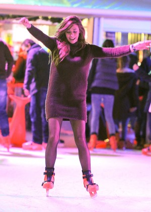 Pascal Craymer in Mini Dress on Ice skating -18