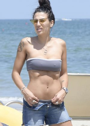 Patrizia Bonetti in Bikini on the beach in Milano Marittima