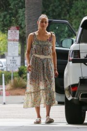 Paula Patton in Floral Summer Dress at a gas station in Malibu