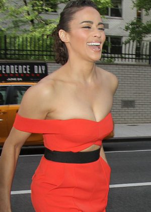 Paula Patton in Red Leaves her hotel in New York