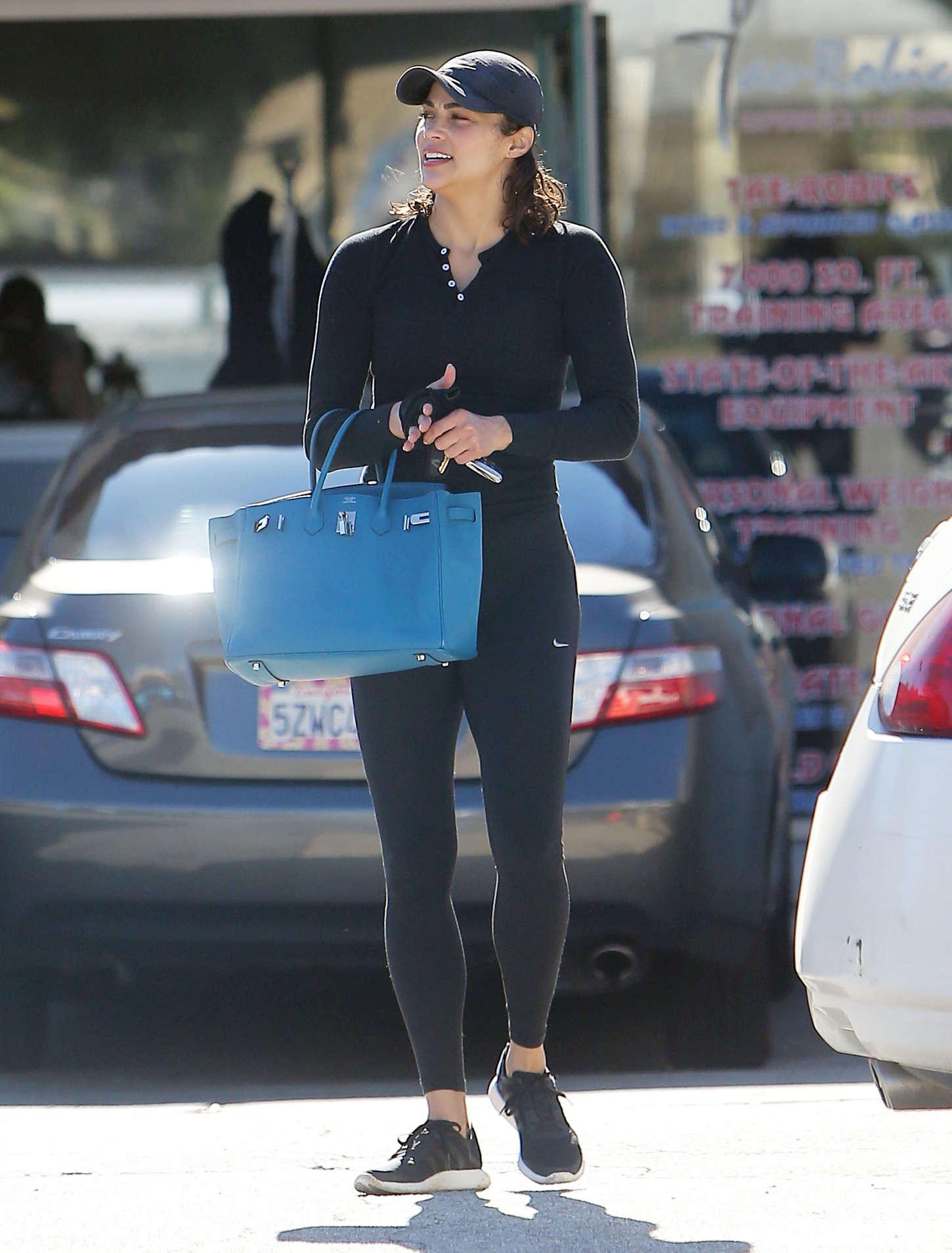 Paula Patton in Leggings Leaves The Gym in Calabasas