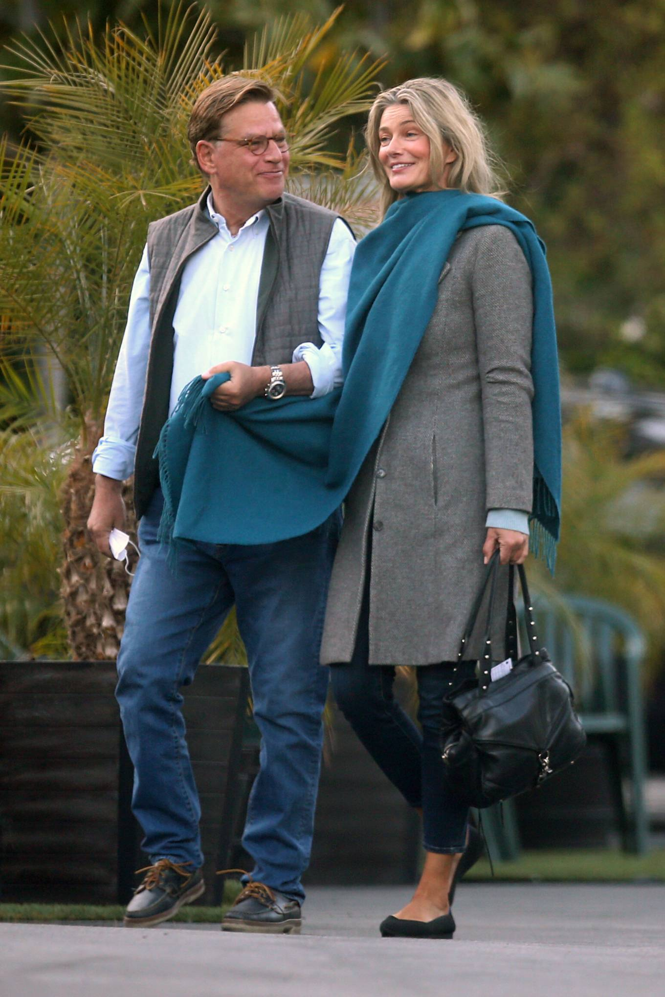 Paulina Porizkova - With Aaron Sorkin meet up for a diner date in Los Angeles