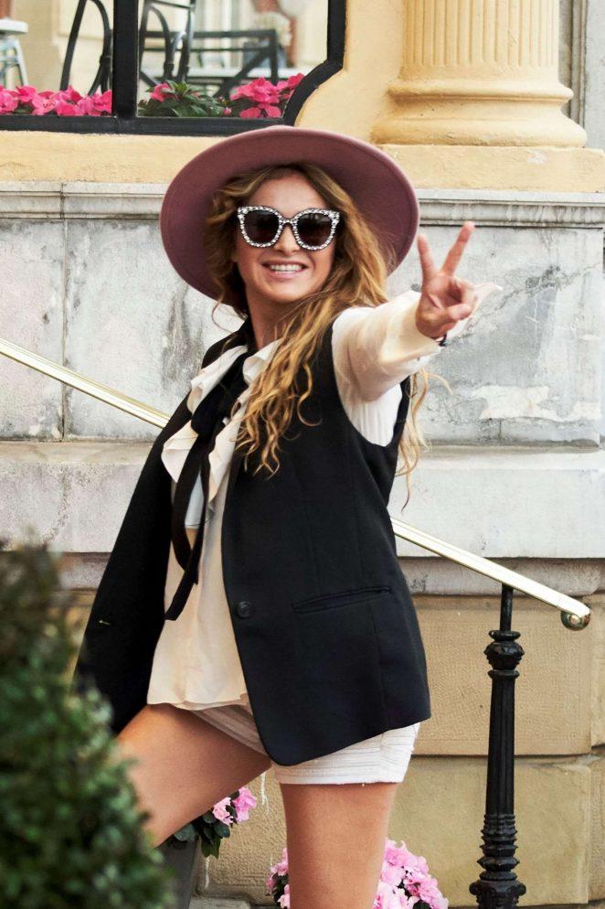 Paulina Rubio – Arriving at Maria Cristina Hotel in San Sebastian