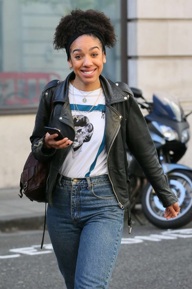 Pearl Mackie Arriving at BBC Radio Two studios in London