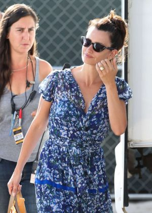 Penelope Cruz in Floral Dress on set in Miami Beach