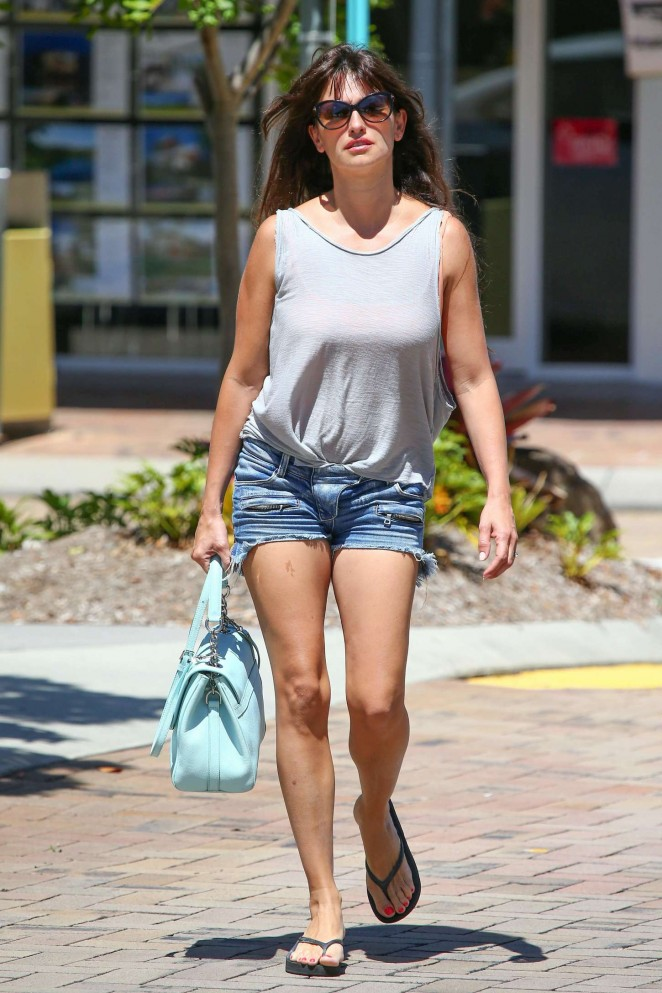 Penelope Cruz in Jeans Shorts out in Australia