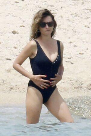 Penelope Cruz - Wearing black swimsuit in Sardinia