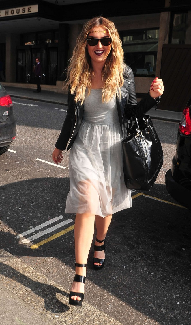 Perrie Edwards in White Dress out in London