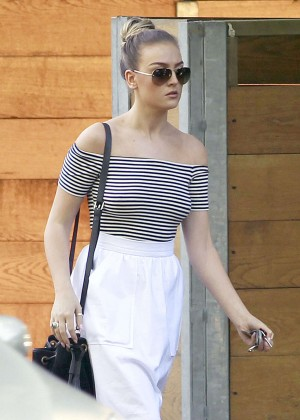 Perrie Edwards in White Skirt  Out in London