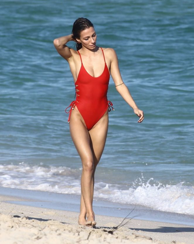 Petra Kladivova in Red Swimsuit on the beach in Miami