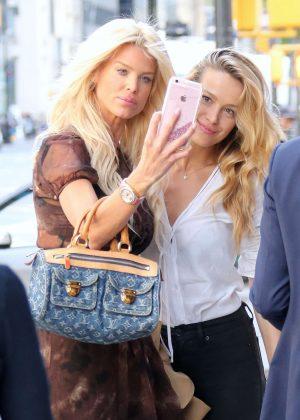 Petra Nemcova and Victoria Silvstedt at Nello restaurant in New York City