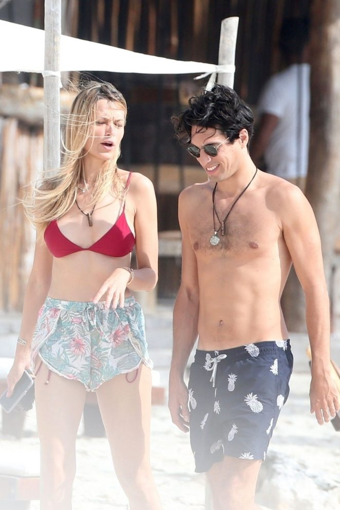 Petra Nemcova in Bikini Top on holiday in Tulum