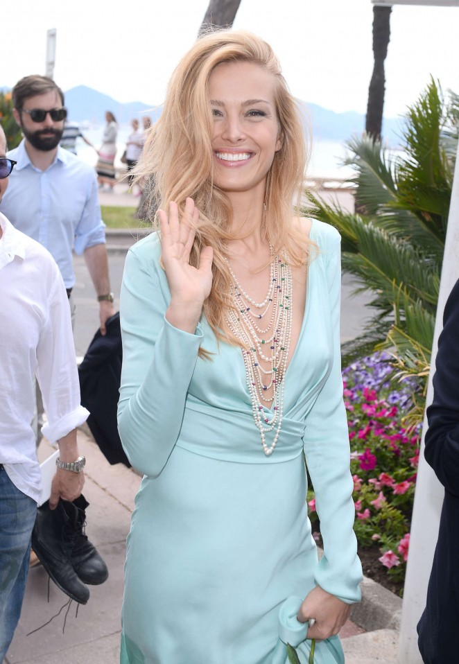 Petra Nemcova in Long Dress on the Beach in Cannes