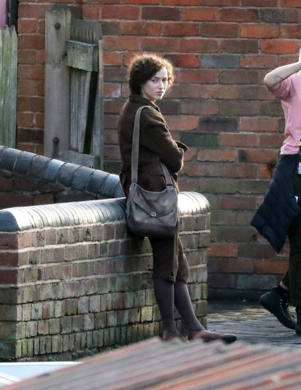 Phoebe Dynevor and Darci Shaw - On the set at the Black Country Museum in Birmingham