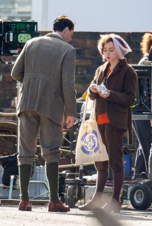 Phoebe Dynevor - With Matthew Goode on 'The Colour Room' set Stoke-on-Trent - England